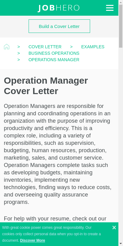 Sample Cover Letters For Operations Manager 20 Guides Examples