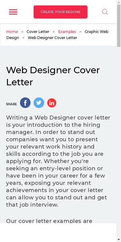 Web Designer Cover Letter 20 Guides Examples