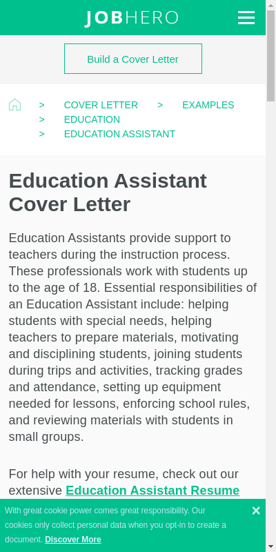 Cover Letter For Educational Assistant 20 Guides Examples