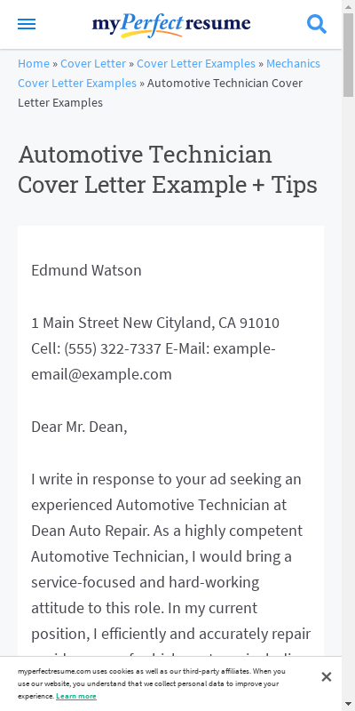 Automotive Technician Cover Letter Sample 20 Guides Examples