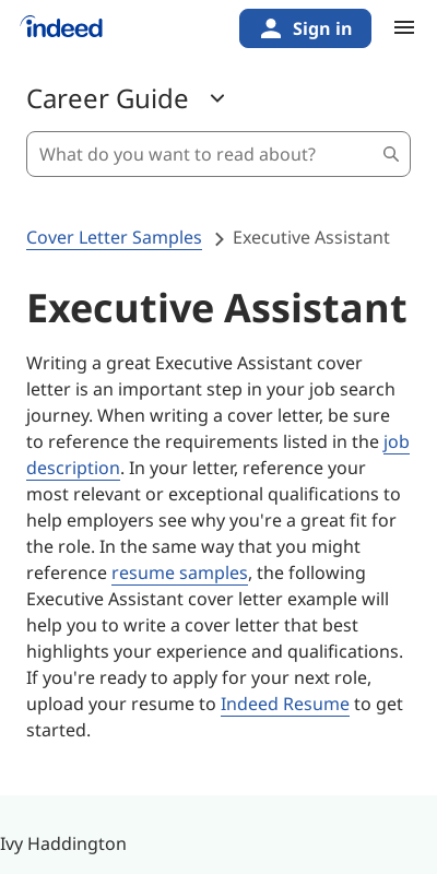 Get Wonderful Cover Letter Sample Executive Assistant  Selections