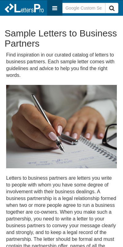 For partnership letter looking Business Proposal