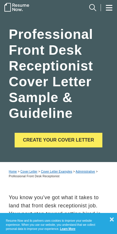 Sample Cover Letter For Receptionist 20 Guides Examples