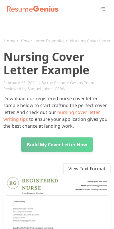 Nurse Resume Cover Letter 20 Guides Examples