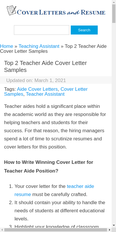 Teacher Aide Cover Letter Sample 20 Guides Examples