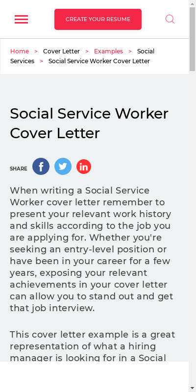 Social Service Cover Letter Sample 20 Guides Examples
