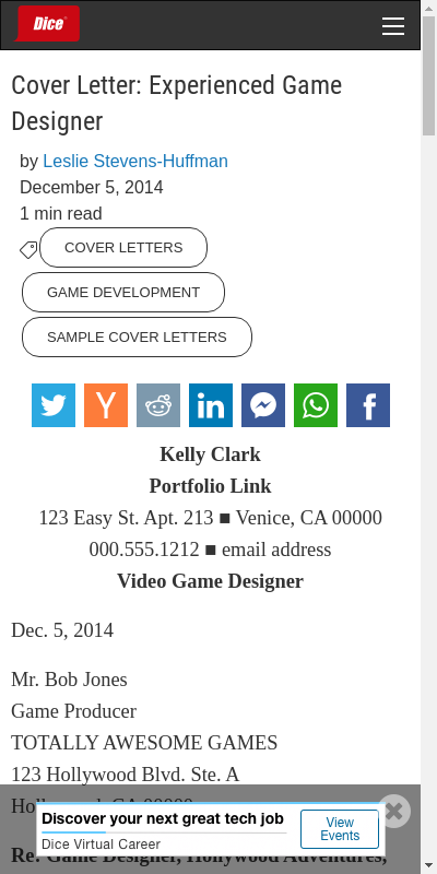 Cover Letter Game Industry 20 Guides Examples