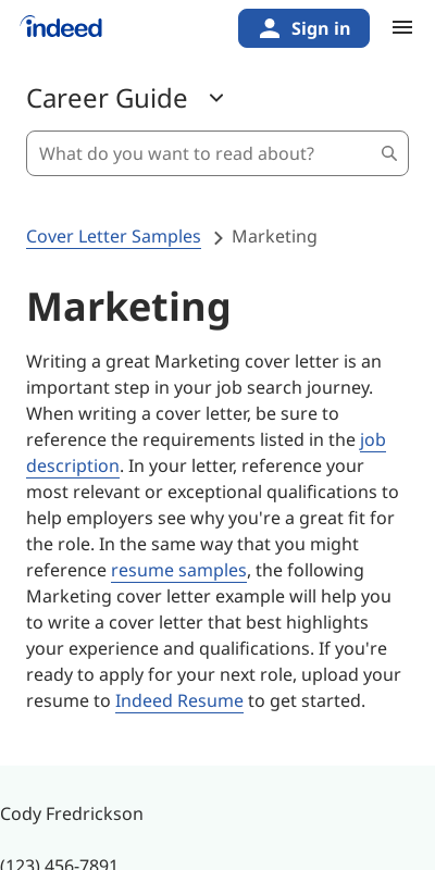Sales And Marketing Cover Letters 20 Guides Examples