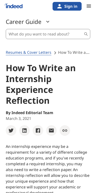 Internship Experience Sample 20 Guides Examples