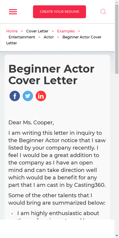 Cover Letter For Actors 20 Guides Examples