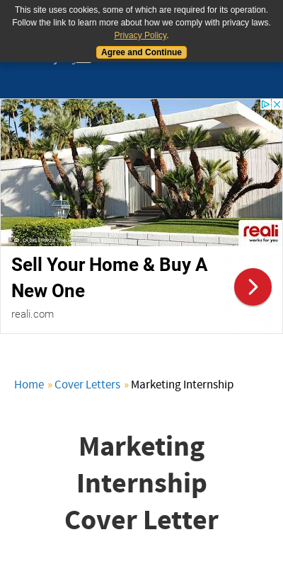 Cover Letter For Marketing Internship 20 Guides Examples