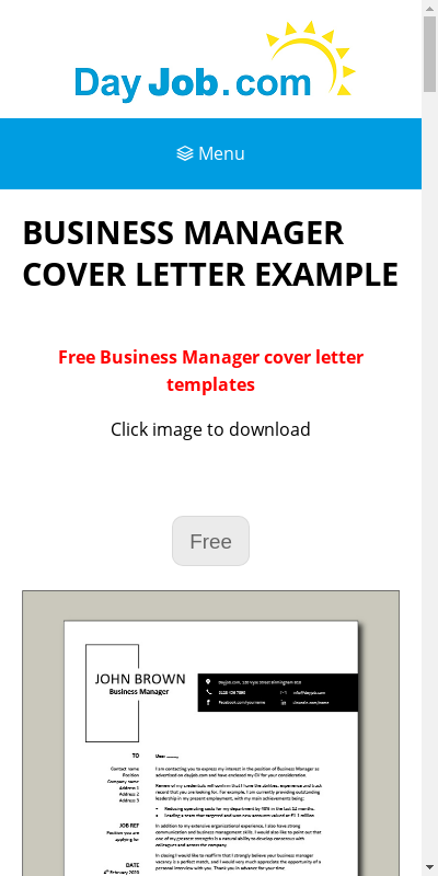 Business Manager Cover Letter 20 Guides Examples