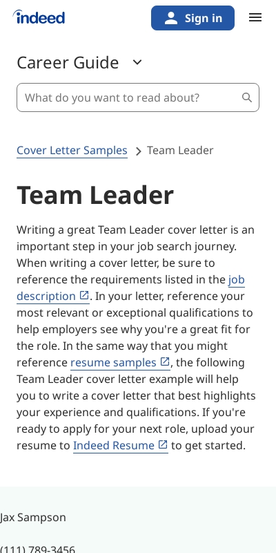 Team Leader Cover Letter No Experience 20 Guides Examples