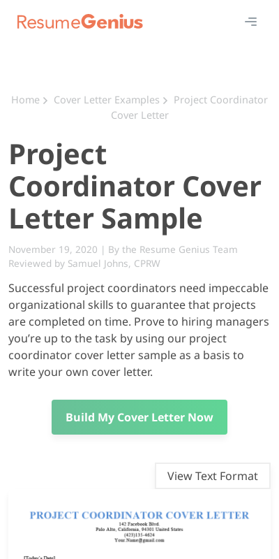 Cover Letter For Project Coordinator 20 Guides Examples
