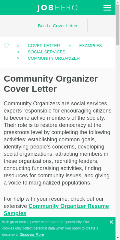 Cover letter community organizer job pay for my math admission paper