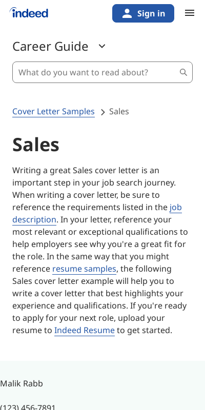 Sales Cover Letter Indeed Primary Photos Top Rated