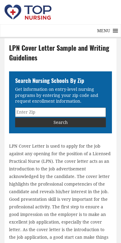 Sample Cover Letter For Lpn 20 Guides Examples