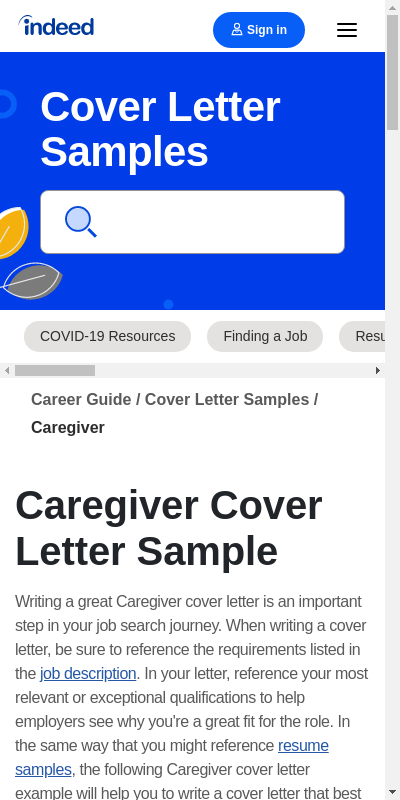 Caregiver Cover Letter 20 Guides Examples