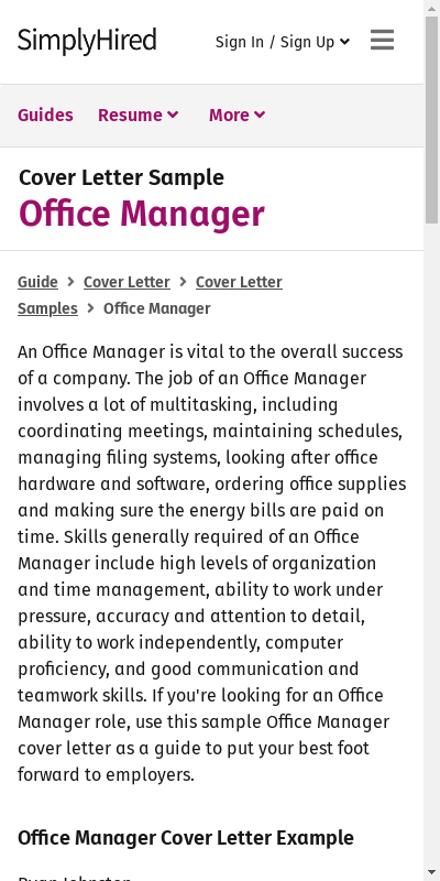 Sample Cover Letter For Office Manager 20 Guides Examples