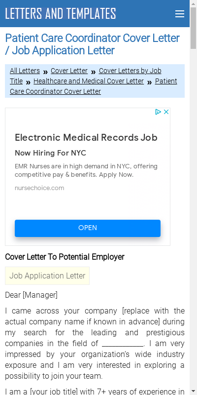 Patient Care Coordinator Cover Letter 20 Guides Examples