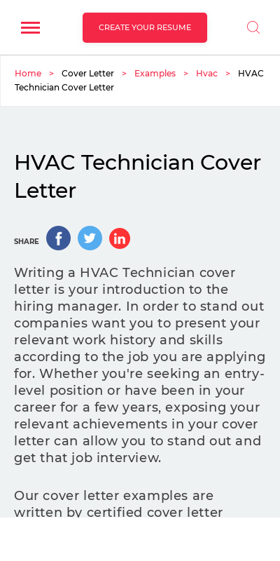 Hvac Cover Letter Entry Level 20 Guides Examples