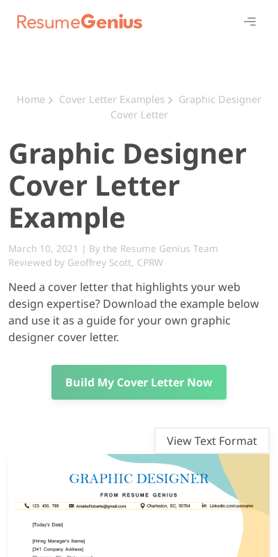 Sample Graphic Design Cover Letters 20 Guides Examples