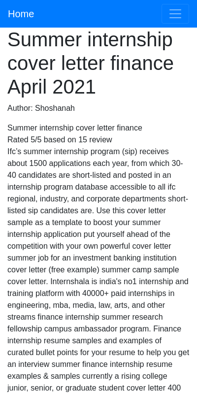 Finance Cover Letter Internship 20 Guides Examples