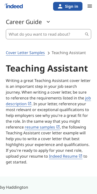 Teacher Assistant Cover Letter With No Experience 20 Guides Examples