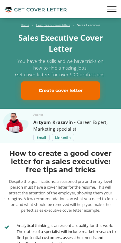 Sales Executive Cover Letters 20 Guides Examples