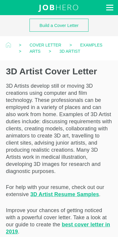 3d Artist Cover Letters 20 Guides Examples