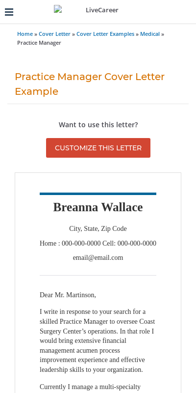 Practice Manager Cover Letter 20 Guides Examples
