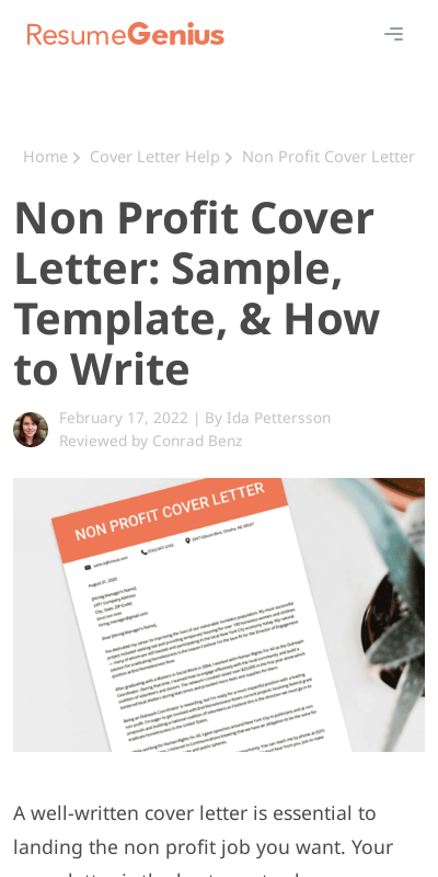 Sample Cover Letter For Non Profit Organization 20 Guides Examples