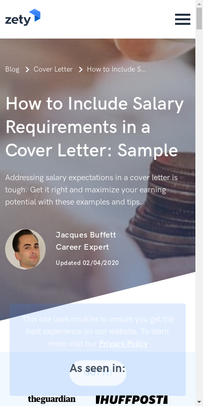 Salary Requirement Letter Sample 20 Guides Examples
