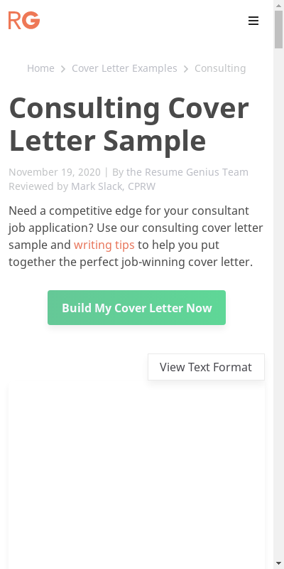 Sample Cover Letter For Consultant 20 Guides Examples