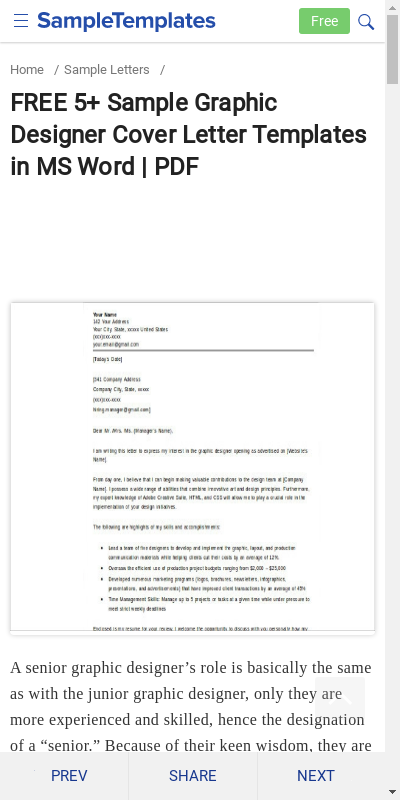 Graphic Design Cover Letter Sample Pdf 20 Guides Examples