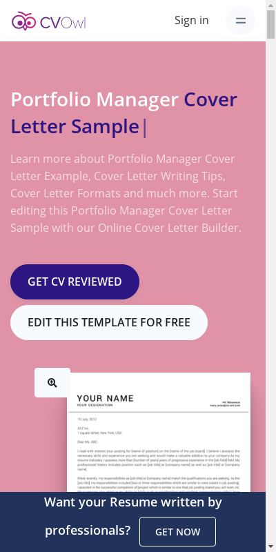 Portfolio Manager Cover Letter 20 Guides Examples