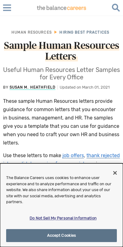 Human Resources Letters 20 Guides Examples