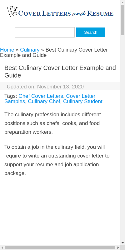 Culinary Cover Letter 20 Guides Examples