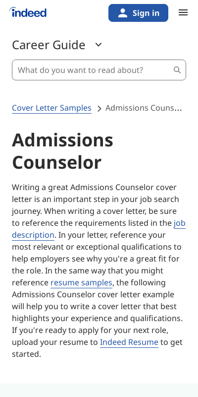 Admissions Counselor Cover Letter With No Experience 20 Guides Examples