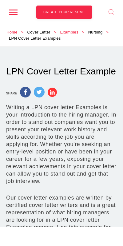 Lpn Sample Cover Letter 20 Guides Examples