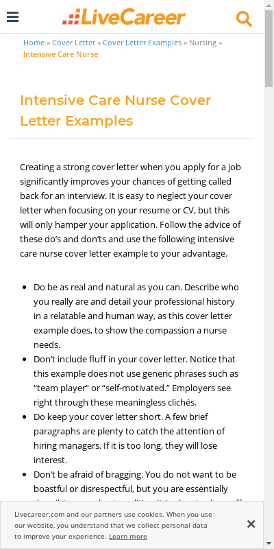 Critical Care Nurse Cover Letter 20 Guides Examples
