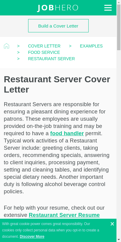 How To Write A Cover Letter For A Restaurant 20 Guides Examples
