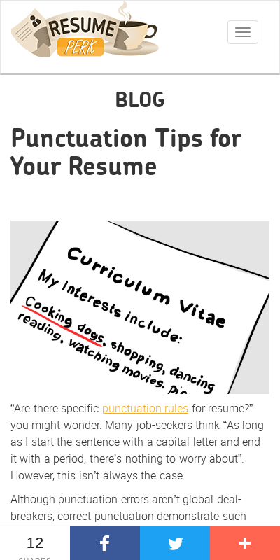 usage of periods in resume