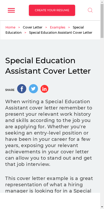 Special Education Assistant Cover Letter 20 Guides Examples