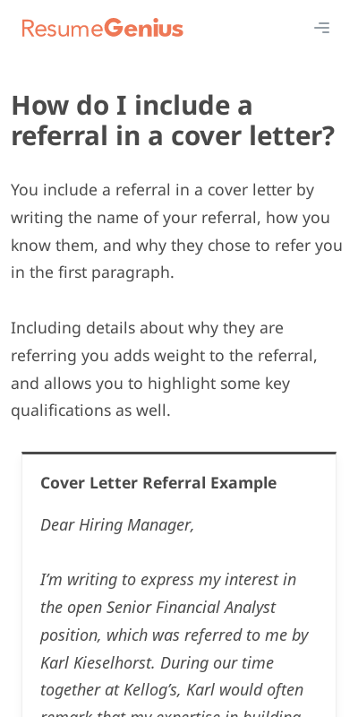 How To Put A Referral In A Cover Letter Primary Portraits Popular