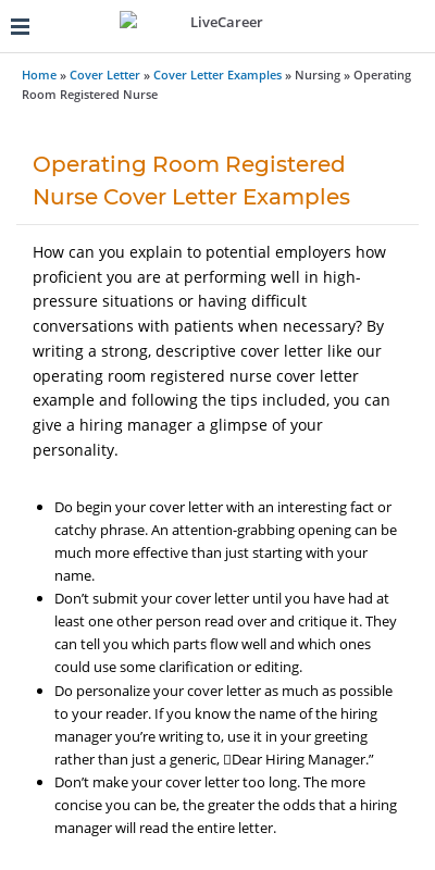 Operating Room Nurse Cover Letter 20 Guides Examples