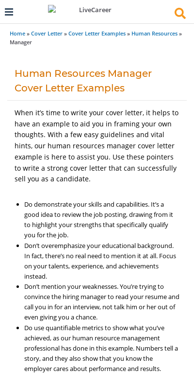 Human Resource Cover Letter No Experience 20 Guides Examples