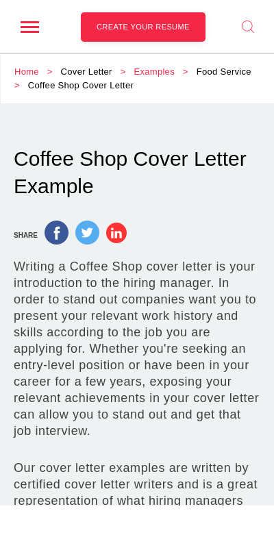 coffee shop manager cover letter