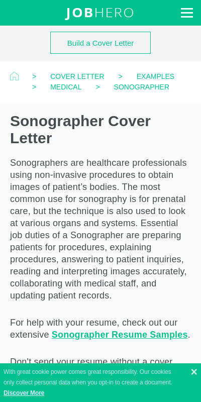 Ultrasound Cover Letter 20 Guides Examples