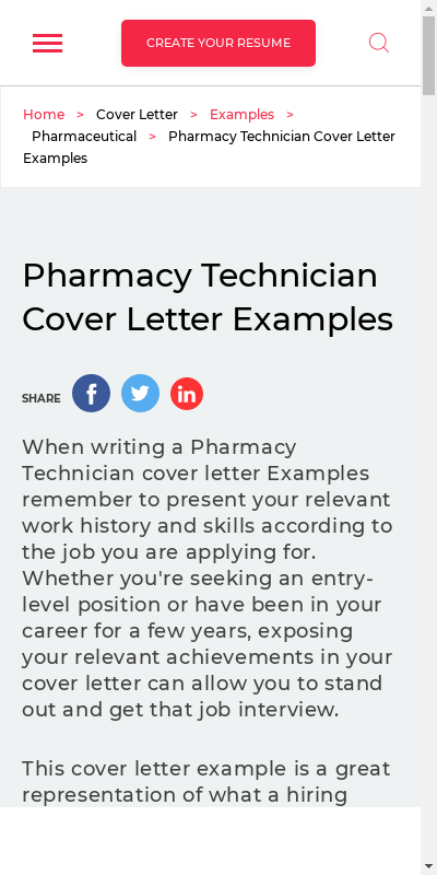 Cover Letter For Pharmacy Assistant With No Experience 20 Guides Examples